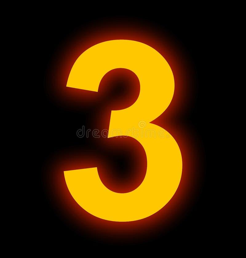 Lampe au néon du numéro 3 complètement d'isolement sur le noir illustration libre de droits