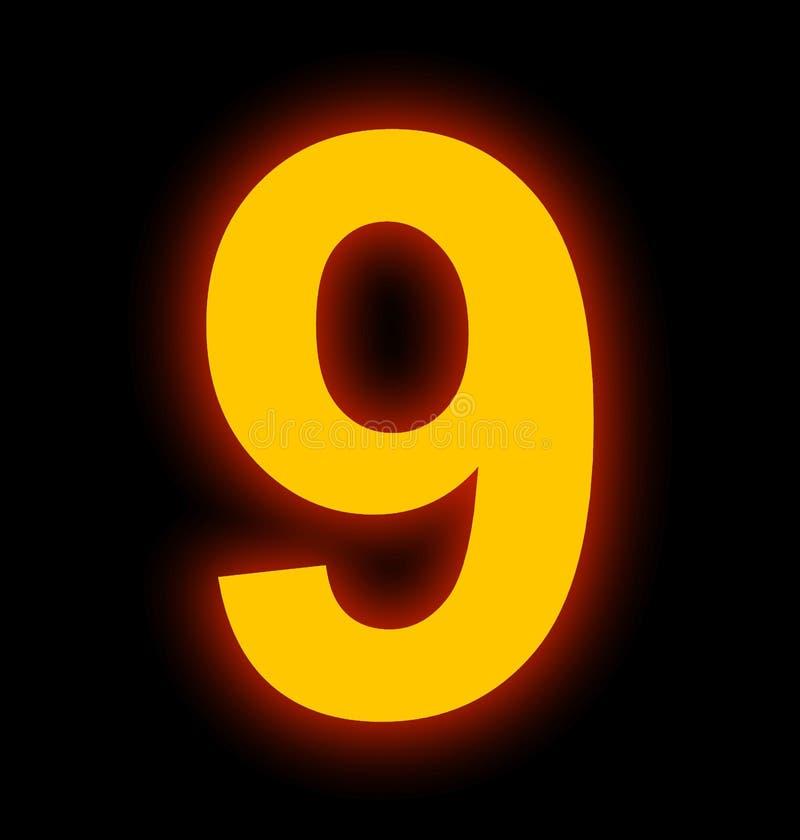 Lampe au néon du numéro 9 complètement d'isolement sur le noir illustration de vecteur