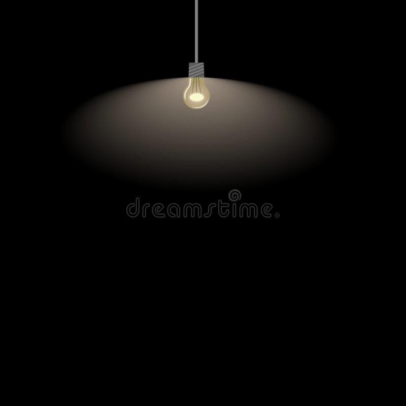 Lampe auf einem schwarzen Hintergrund stockfotografie