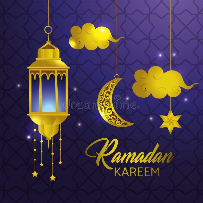 Lampe avec l'étoile et les nuages accrochant au kareem de Ramadan illustration de vecteur