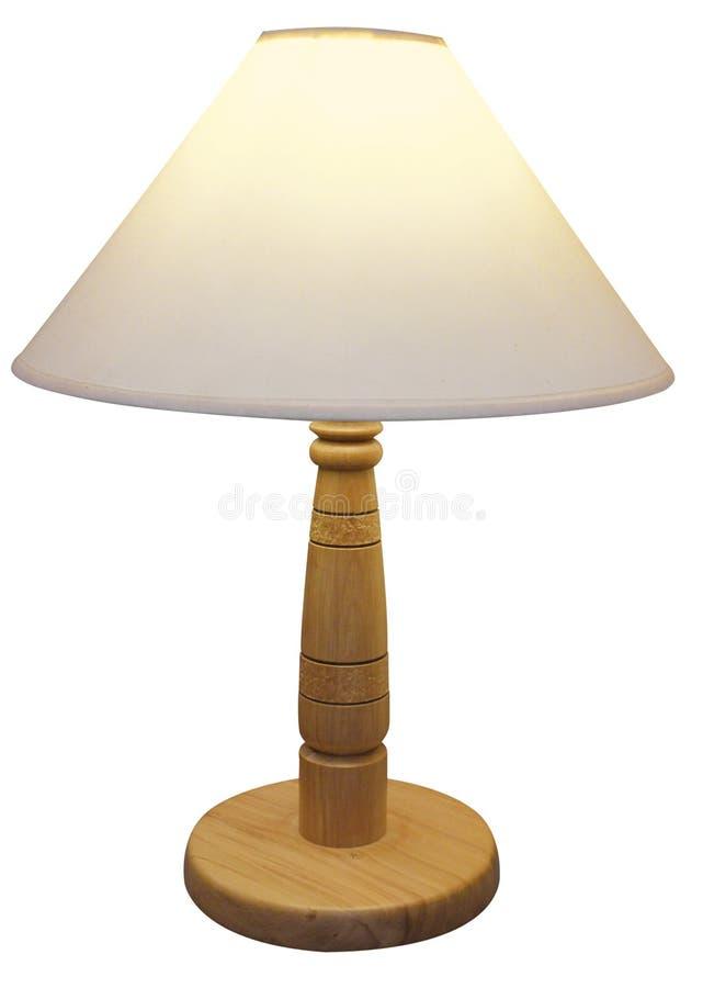 Lampe Basée En Bois Avec L Ombre Photos stock