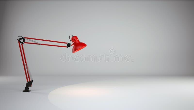 Lampe belichtet den Boden im grauen Fotostudio stockfotografie