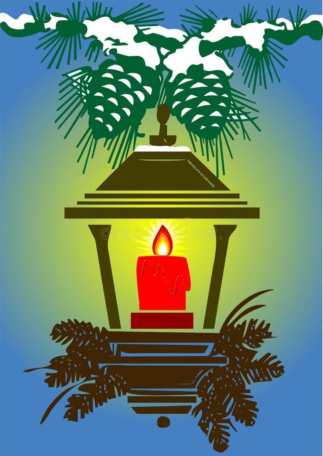 Lampe, bougie et cônes stylized par vecteur illustration de vecteur