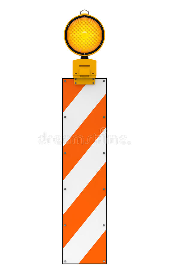 Lampe d'avertissement du trafic jaune sur le blanc illustration stock