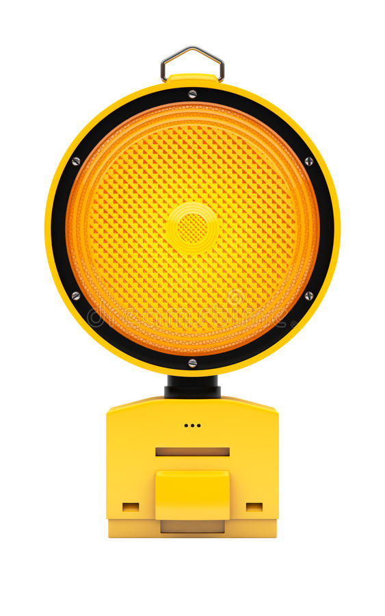 Lampe d'avertissement du trafic jaune sur le blanc illustration de vecteur