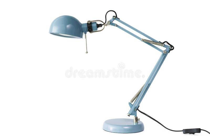 Lampe de bureau bleue d'isolement sur le fond blanc images libres de droits