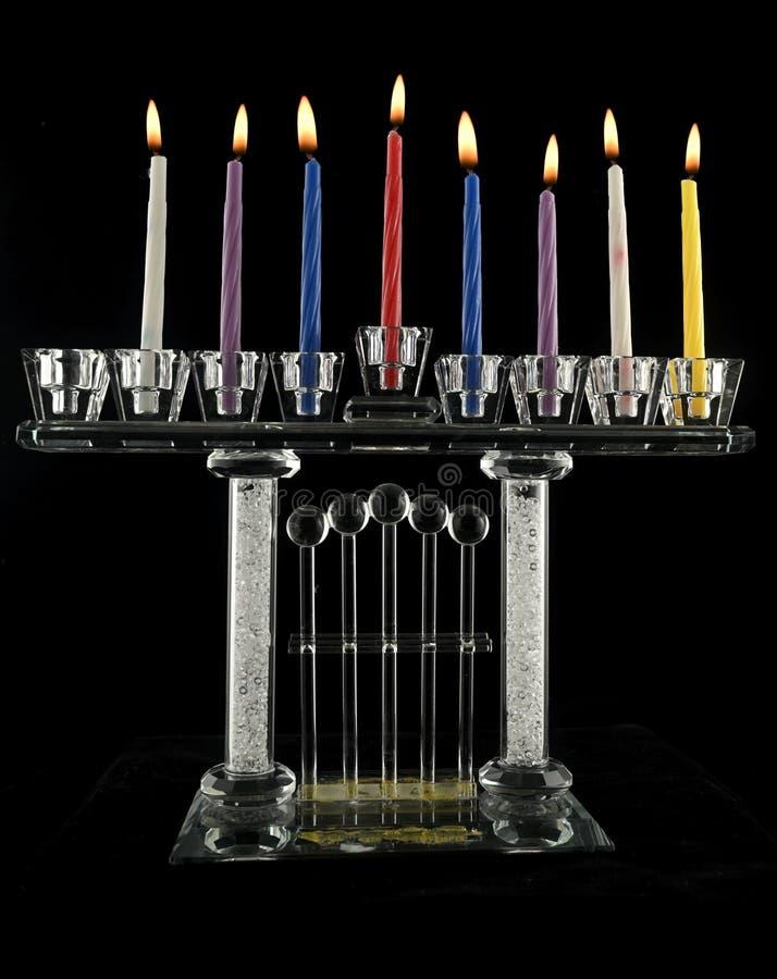 Lampe de cristal Hanukkah menorah de septième jour image stock