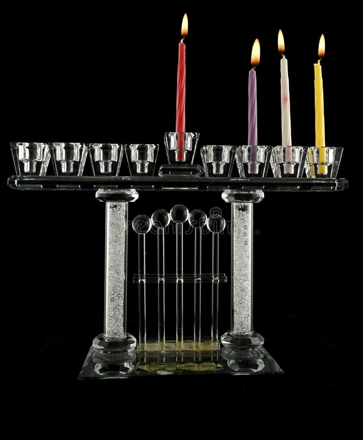 Lampe de cristal Hanukkah menorah de troisième jour photos stock