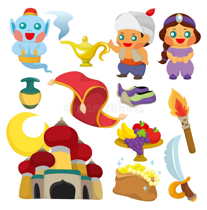 Lampe de dessin animé de graphisme d'Aladdin illustration libre de droits