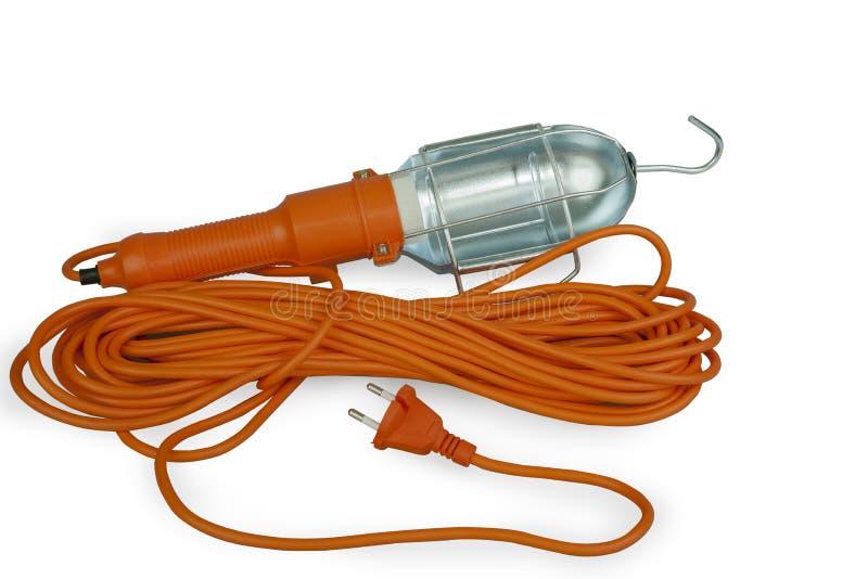 Lampe de main portative sur un long fil électrique image libre de droits