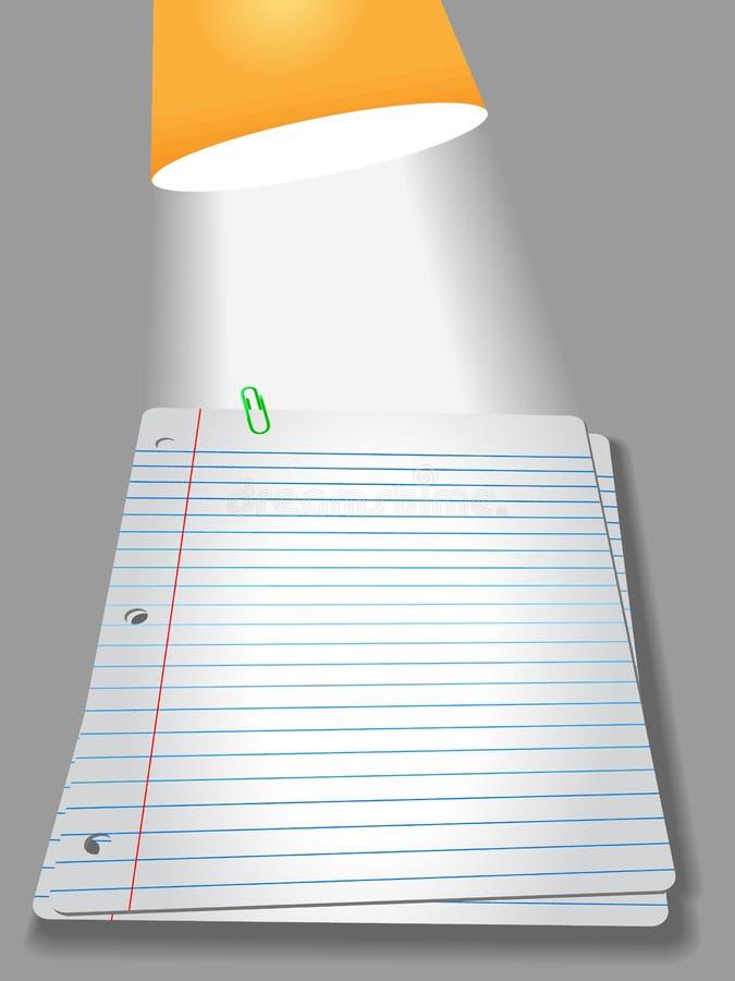 Lampe de papier de trombone de pages de cahier illustration libre de droits