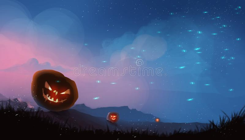 Lampe de potirons de Halloween, concept de Halloween, paintin d'illustration images stock