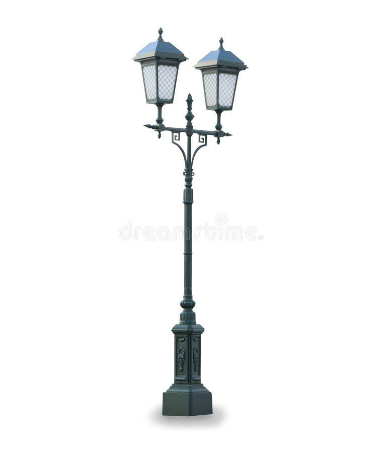 Lampe de stret de vintage d'isolement au-dessus du blanc images stock
