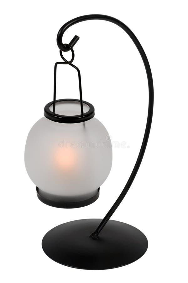 Lampe de table allumée de bougie image stock