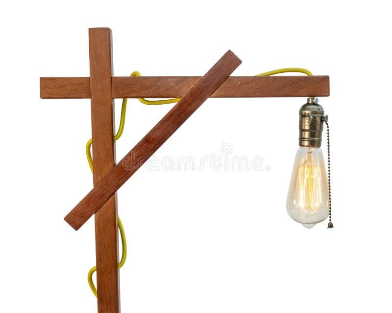 Lampe de table en bois rustique avec le petit abat-jour blanc photo stock