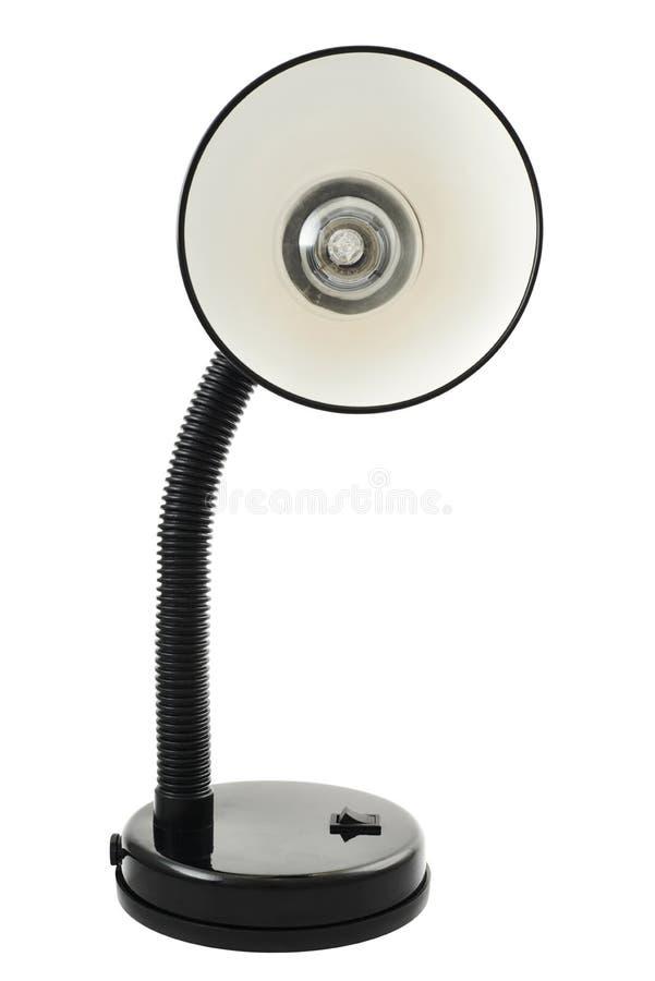 Lampe de table noire de bureau d'isolement photos stock