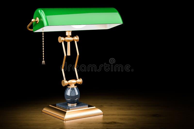 Lampe de table rougeoyante de banquiers de vintage sur la table en bois, rende 3D illustration libre de droits