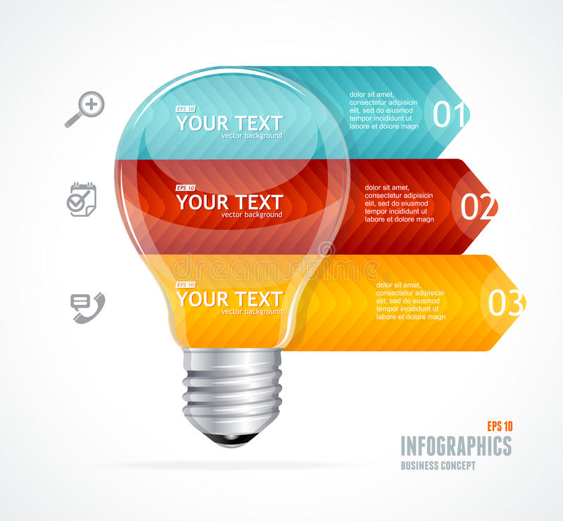 Lampe de vecteur Bannière moderne d'options d'infographics illustration stock
