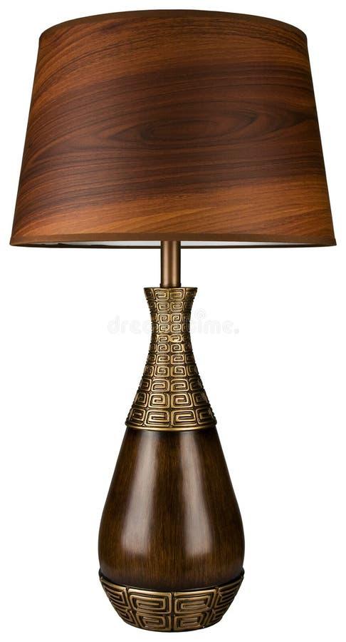 Lampe en bois et en laiton de Tableau photo stock