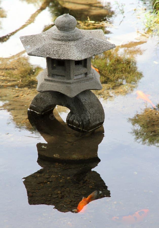 Lampe en pierre traditionnelle dans le lac Jardin japonais photo libre de droits