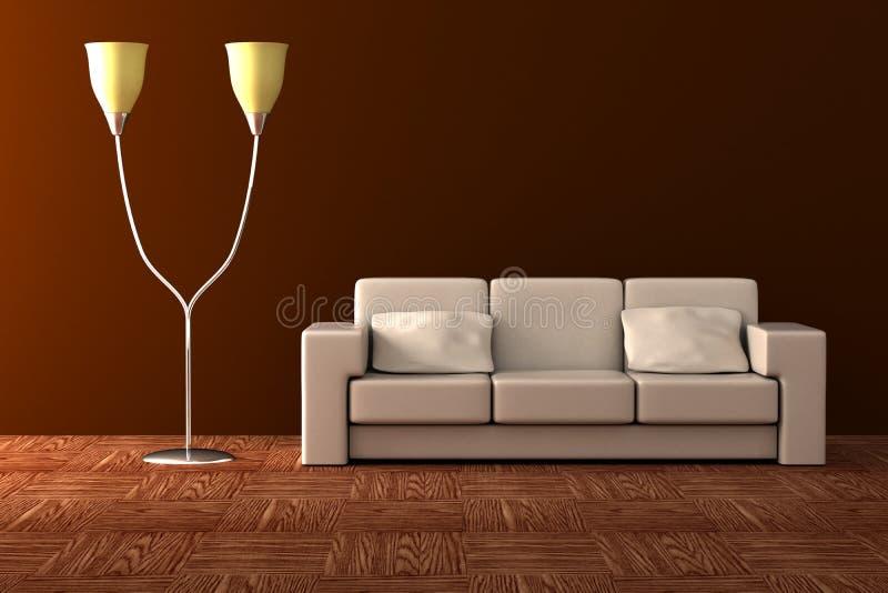 Lampe et sofa d'étage. illustration libre de droits