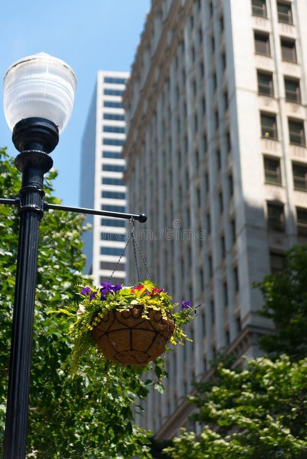 Lampe extérieure sur une rue de Chicago photo stock