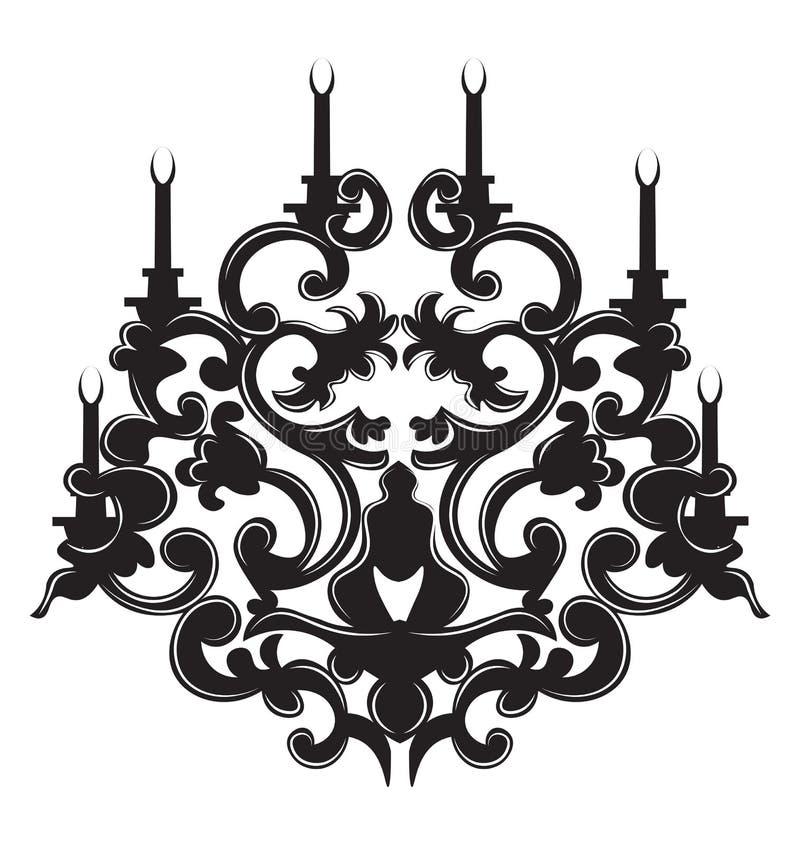 Lampe gothique de style de vintage sur le fond blanc illustration de vecteur
