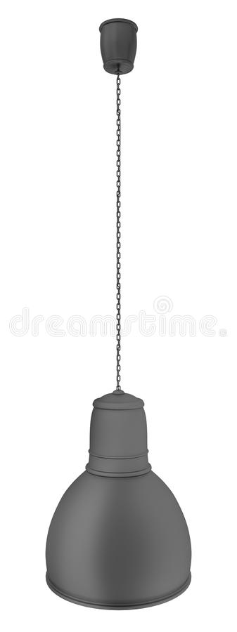 Lampe Noire Accrochante Avec Le Mur Blanc Fond Illustration