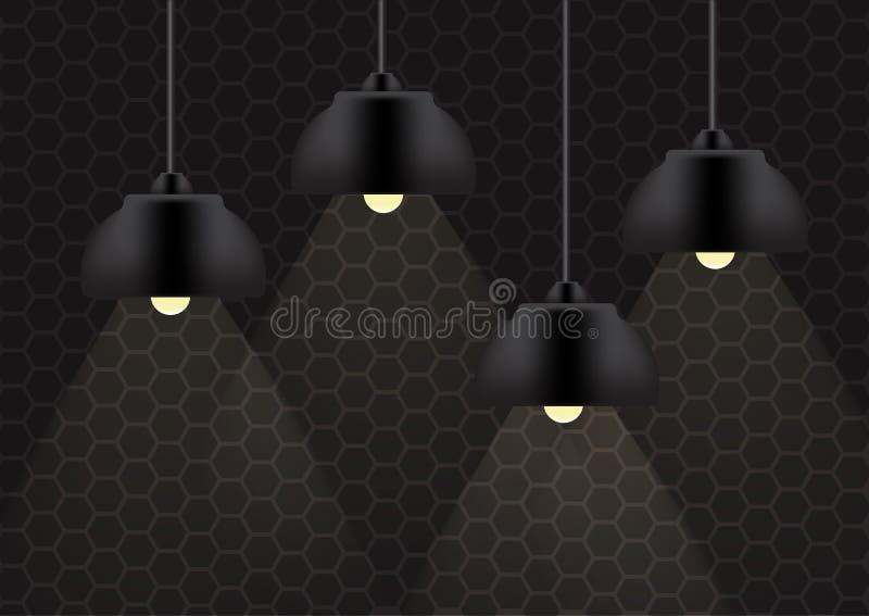 Lampe noire et éclairage sur l'illustration de fond de mur illustration de vecteur