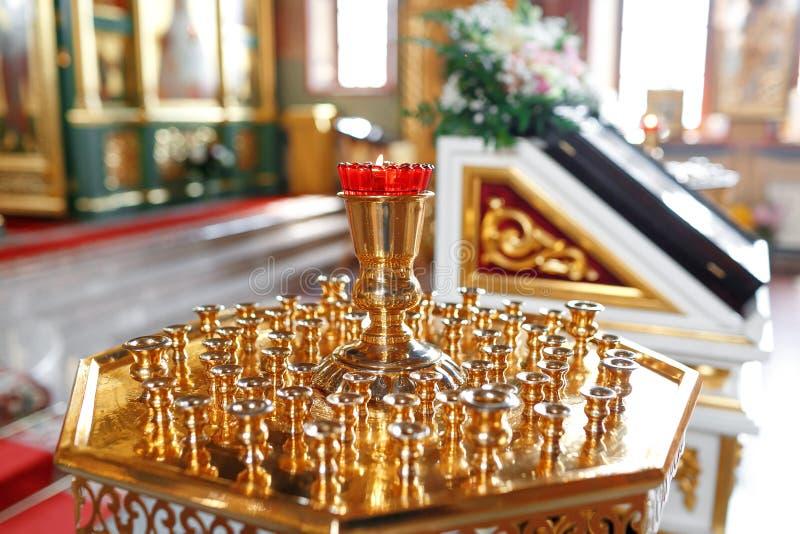 Lampe orthodoxe d'icône Huile d'église Attribut d'église images libres de droits