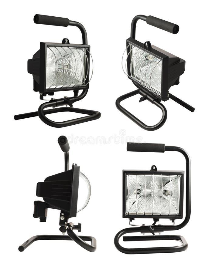 Lampe portative de construction d'halogène d'isolement image libre de droits