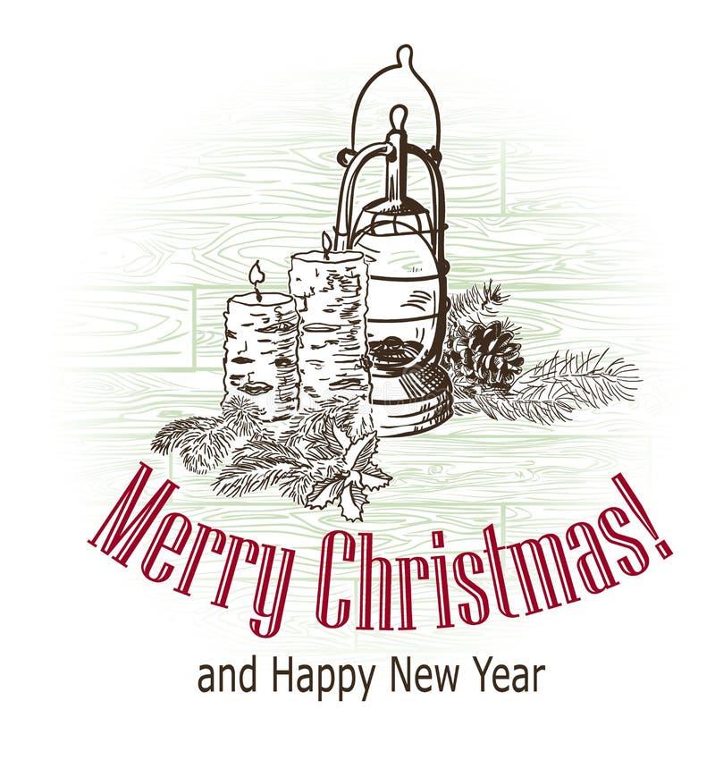 Lampe tirée de bougies de croquis de rétro style de vecteur de carte de Noël image stock