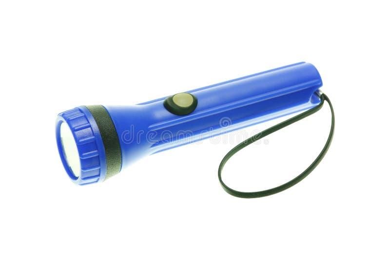 lampe-torche bleue d'isolement sur le blanc photo stock