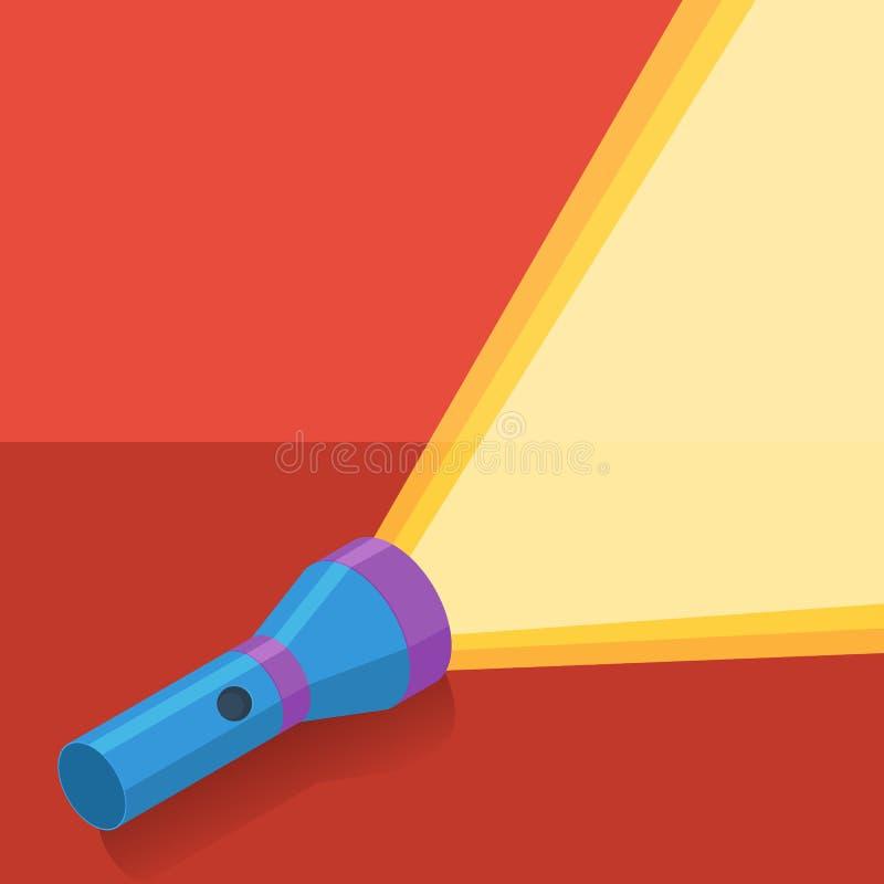 Lampe-torche bleue dans le style plat sur le fond rouge illustration de vecteur