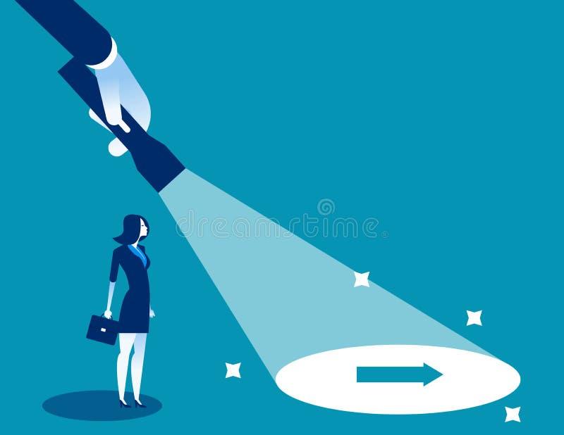 Lampe-torche découvrant le signe caché de flèche Illustration de vecteur de direction d'affaires de concept, caractère plat, styl illustration libre de droits