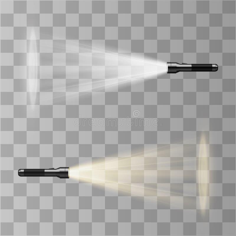Lampe-torche de vecteur d'isolement sur le fond transparent Effet de la lumière illustration libre de droits