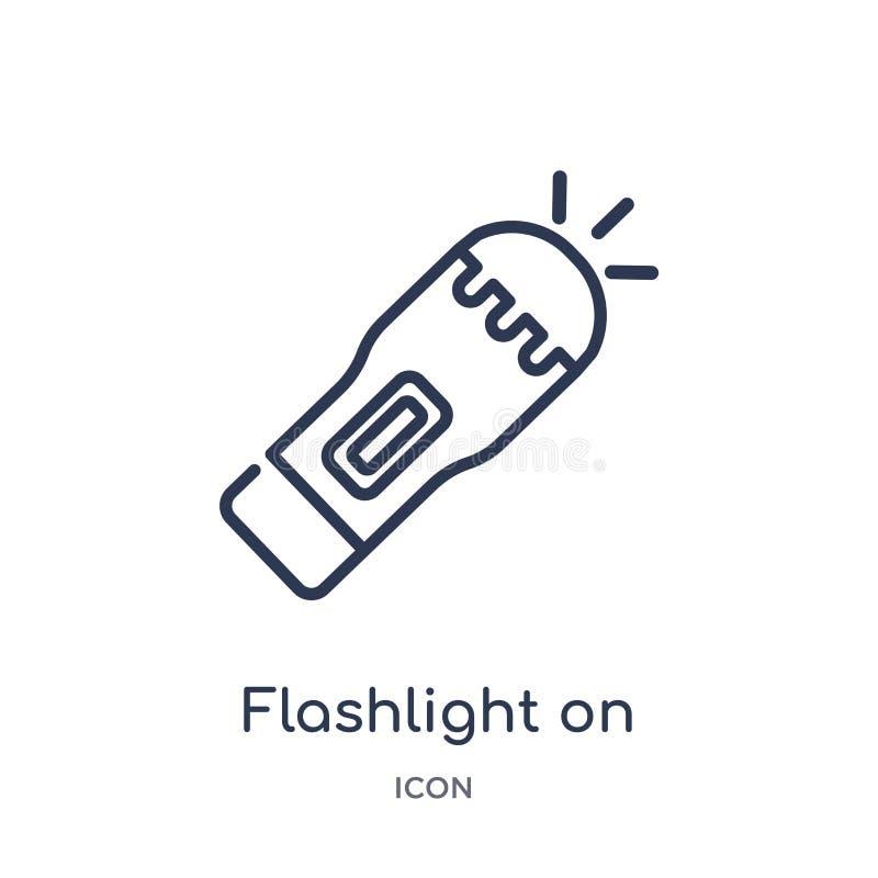 Lampe-torche linéaire sur l'icône de la collection d'ensemble général Ligne mince lampe-torche sur l'icône d'isolement sur le fon illustration de vecteur