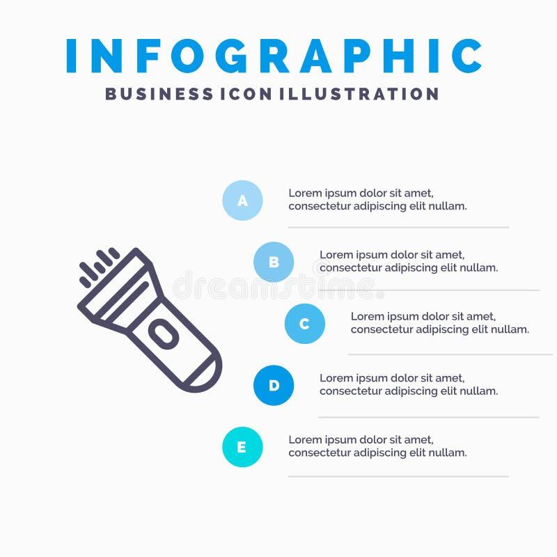 Lampe-torche, lumière, torche, étapes bleues instantanées du calibre 5 d'Infographics Ligne calibre de vecteur d'ic?ne illustration stock