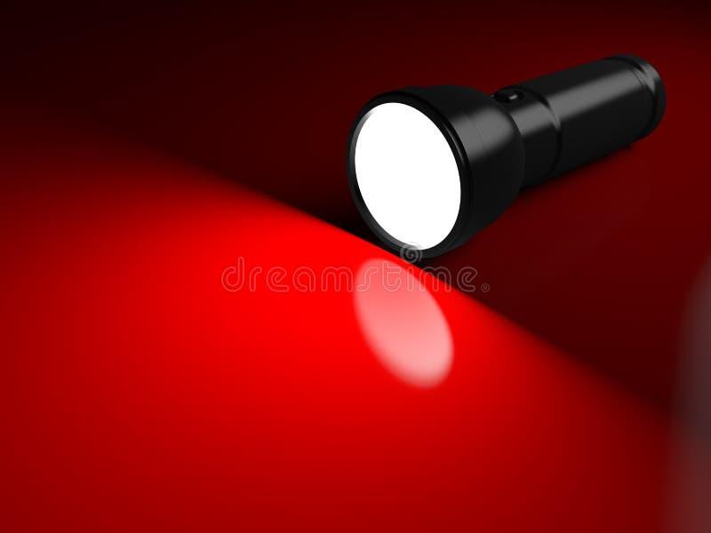 Lampe-torche noire allumant la surface rouge illustration libre de droits