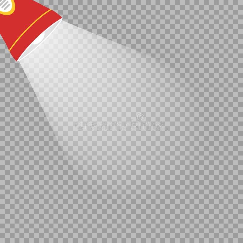 Lampe-torche rouge avec les rayons blancs sur le fond transparent d'isolement Élément de conception de vecteur illustration libre de droits