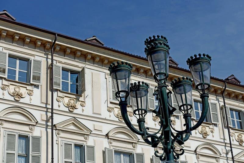 Lampe Turin-Marktplatz-Sans Carlo Street stockfotografie