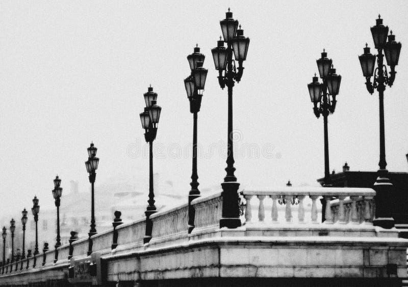 Lampen, de Winter, het Kremlin, Moskou, Monochromatisch Rusland, royalty-vrije stock foto's