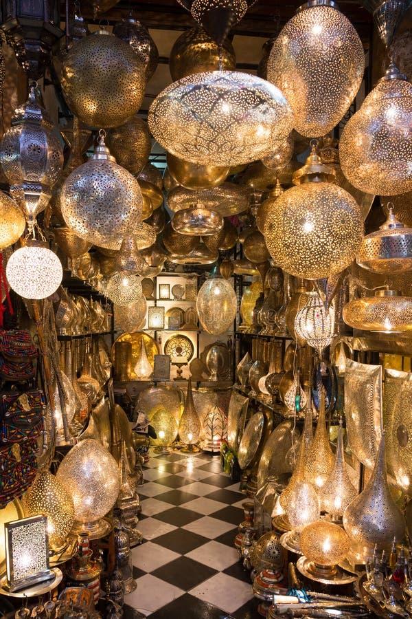 Lampen souk Marrakech Marokko royalty-vrije stock foto