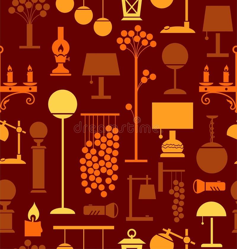 Lampen voor huis en tuin, bruine achtergrond, naadloos, vector illustratie