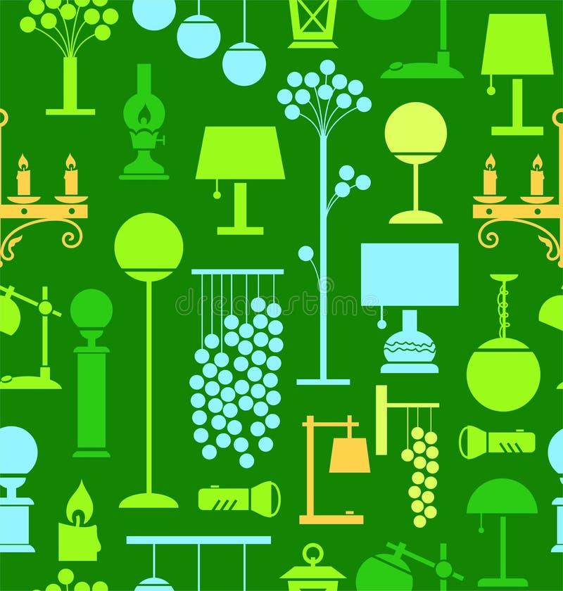 Lampen voor huis en tuin, groene achtergrond, naadloos, royalty-vrije illustratie