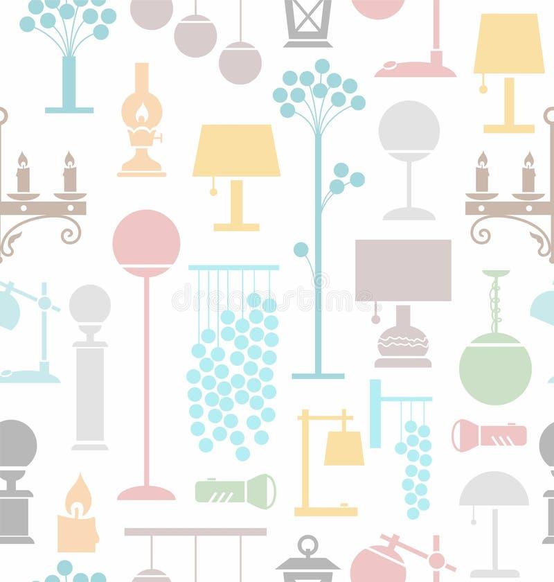 Lampen voor huis en tuin, witte achtergrond, naadloos, royalty-vrije illustratie