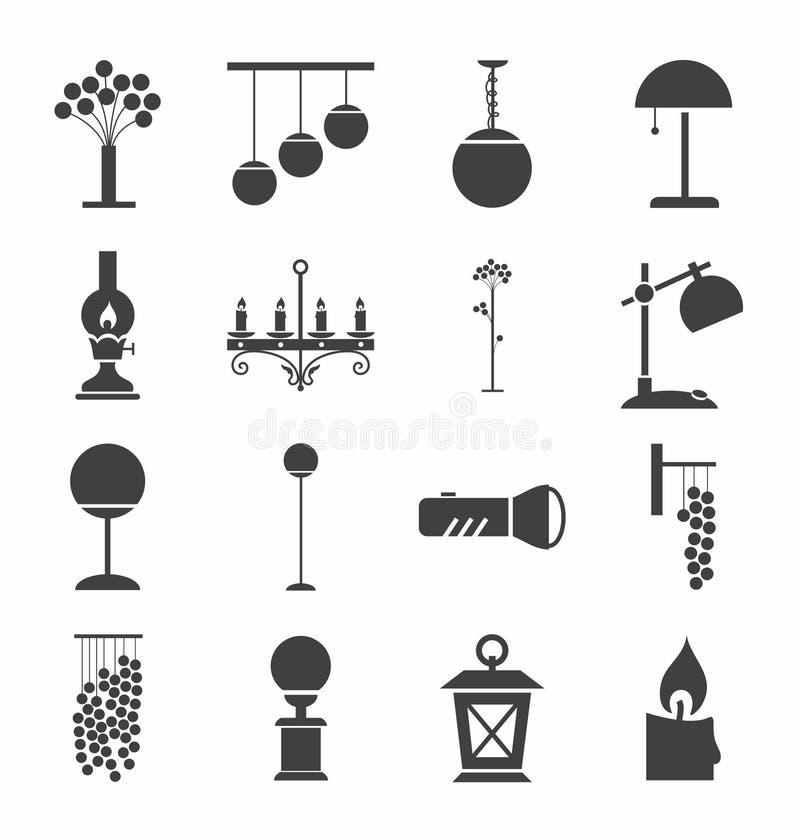 Lampen voor huis en tuin, zwart-wit pictogrammen, stock illustratie