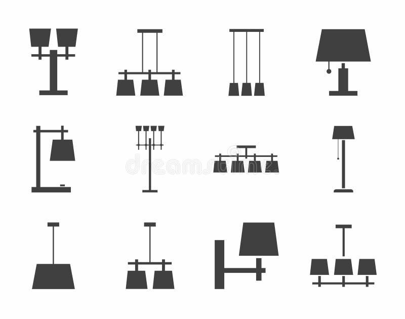 Lampenplafond, lijst, openlucht, enig-kleurenpictogrammen vector illustratie