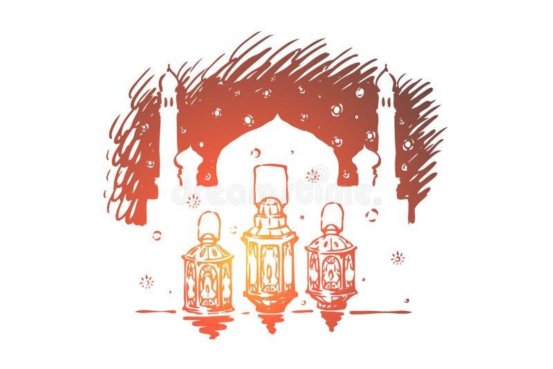 Lampes ? p?trole en dehors de mosqu?e, de lanternes de f?te, de culture arabe et d'architecture, religion musulmane, vacances isl illustration libre de droits
