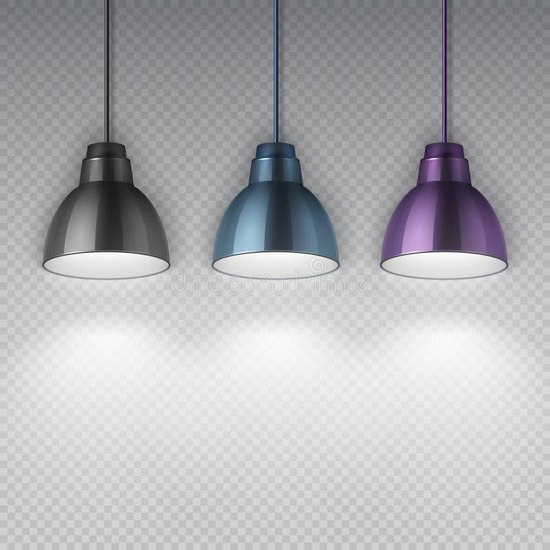 Lampes électriques de plafond de chrome de coup de vintage Illustration de vecteur d'isolement rétros par lustres de bureau illustration de vecteur
